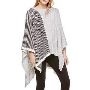 Two By Vince Camuto Waffle Cable Knit Stich Poncho